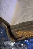 Old damaged book damaged on frozen ice Stock Photo