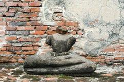Old damaged Buddha in Ayuthaya Thailaand. Old damaged Buddha in Thai contemporary temple in Ayuthaya, Thailand Stock Photos