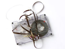 Old damaged cassette tape Stock Images