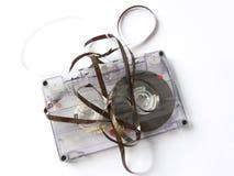 Old damaged cassette tape stock images