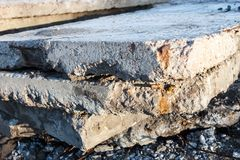 Old and damaged concrete blocks. Stock Photography