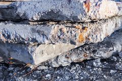 Old and damaged concrete blocks. Royalty Free Stock Photo