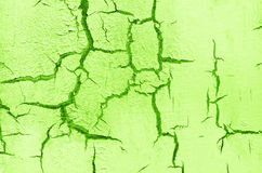 Old Damaged Cracked Paint Wall, Grunge Background, green color Stock Image