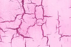 Old Damaged Cracked Paint Wall, Grunge Background, pink pastel color royalty free stock photos