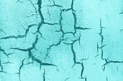 Old Damaged Cracked Paint Wall, Grunge Background, turquoise pastel color royalty free stock photography