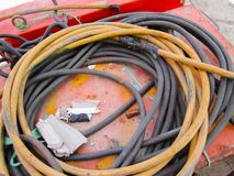 The old and damaged electrical line, Close up view of damaged. royalty free stock photography
