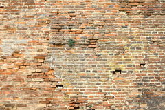 Old damaged exterior brick wall Royalty Free Stock Images