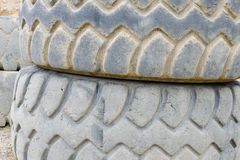 Old and damaged heavy truck tires Stock Photography