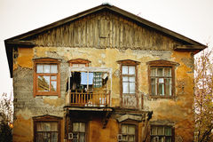Old damaged house with windows Royalty Free Stock Photos