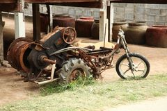 Old and damaged motorcycle scene. Stock Photos