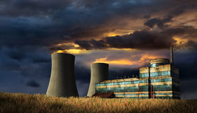 Old damaged nuclear power factory Stock Photos