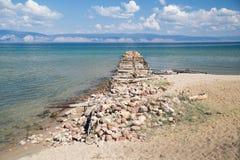 Old damaged pier, Lake Baikal Royalty Free Stock Photography