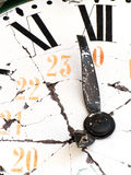 Old and damaged retro clock Royalty Free Stock Photo