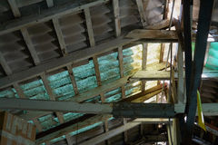 Old damaged roof ceiling Stock Photography