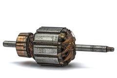Old damaged rotor of electric motor, isolated on white Royalty Free Stock Image