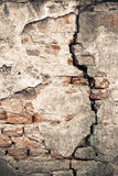 Old damaged wall with a big crack Royalty Free Stock Image