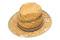 Old damaged wicker hat over white Royalty Free Stock Image