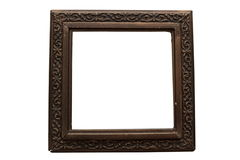 Old damaged wooden frame for paintings. Royalty Free Stock Photos