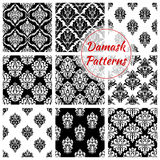 Old damask or damasque seamless pattern background. Damask floral vintage seamless pattern background. Flower foliage tile or plant retro ornament, flourish Stock Images