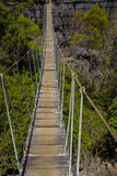 Old dangerous suspension bridge on a green park in Madagascar Royalty Free Stock Image