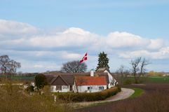 Danish farmhouse in the Danish Countryside. Old Danish farmhouse in the Danish Countryside Stock Photo
