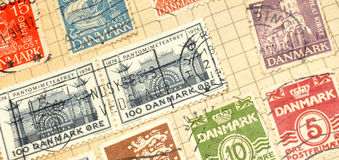 Old Danish Stamps In Album Stock Image