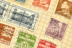 Old Danish Stamps In Album Royalty Free Stock Photo