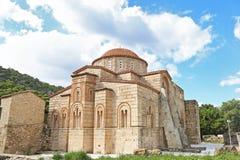 The old Daphni monastery in Athens Greece. Traditional greek religious landmarks stock photo