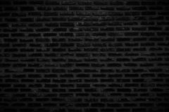 Old Dark Black Brick Wall Texture and Background stock images