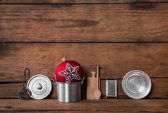 Old dark brown wooden background with christmas decoration Royalty Free Stock Photo