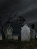 Old dark cemetery. 3D rendered scene of old dark cemetery at night Stock Photography
