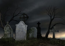 Old dark cemetery. 3D rendered scene of old dark cemetery at night Royalty Free Stock Images