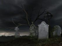 Old dark cemetery. 3D rendered scene of old dark cemetery at night Stock Photo