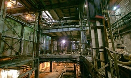Old dark, decaying, destructive, dirty factory. Old creepy dark  destructive dirty factory Royalty Free Stock Photo