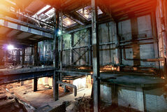 Old  dark, decaying, destructive, dirty factory. Old creepy dark decaying, destructive dirty factory Stock Image