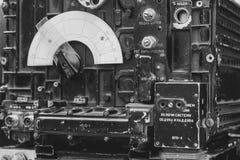 Old dark green amateur ham radio. On wooden table stock photo