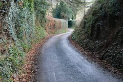 Narrow country lane road Stock Photography