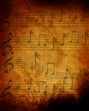 Old dark paper music sheet Royalty Free Stock Image