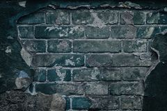 Free Old Dark Ramshackle Brick Wall - Grunge Background Royalty Free Stock Image - 124596966