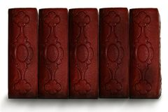 Old dark red antique book spines Stock Image