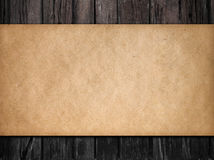 Old dark wood background with paper Royalty Free Stock Photo