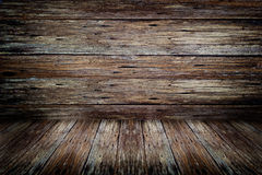 Old dark wood rotten wall and floor texture. Background Stock Photos