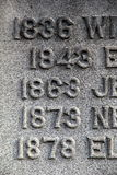 Old dates of person's life carved into gravestone Stock Images