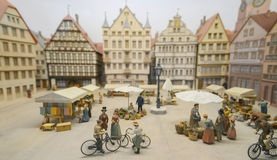 Old days, historical people live Baden-Württemberg,ride their vehicle, Mercedes-Benz automobile Museum. Stock Images