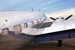 Old DC3 Airplane. An old DC3 airplane sits in the desert Stock Images
