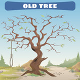 Old dead tree with the gallows, Wild West. Desert landscape vector illustration