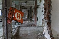 A old, decay, chemical teaching buildung in the czech republic stock photography