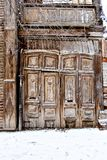 Old decayed wooden door. Single Wooden Door in Old Stock Photos