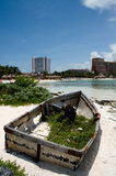 Old decaying boat. Old boat decaying in front of Punta Cancun beach Stock Photography