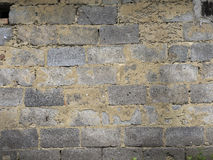 Old decaying brick wall. Background texture of peeled plaster. Royalty Free Stock Photography